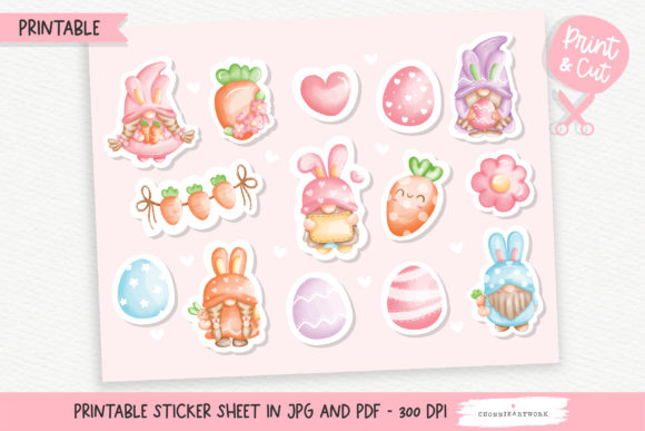 Print on Demand: Watercolor Easter Gnome Sticker Graphic Crafts By Chonnieartwork