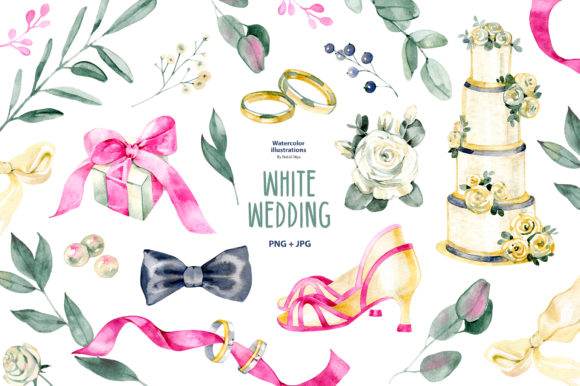 Watercolor White Wedding Clipart Graphic Illustrations By NataliMyaStore