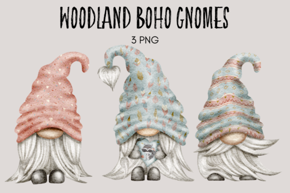 Print on Demand: Woodland Boho Gnome Watercolor Clipart Graphic Illustrations By Celebrately Graphics
