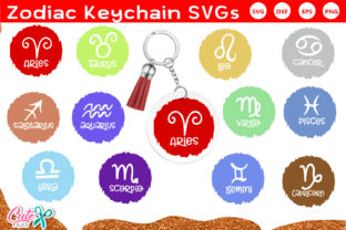 Zodiac Keychain and Keyring SVG Graphic Crafts By Cute files