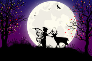 Print on Demand: Cute Fairy and Deer Silhouette Graphic Illustrations By curutdesign