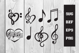 Print on Demand: Music Note Heart Svg Cut File, Sublim Graphic Print Templates By dadan_pm