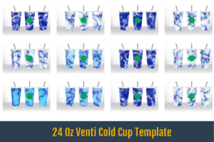 24 Oz Venti Cold Cup Template, Blue Marb Graphic Crafts By Writerfantast