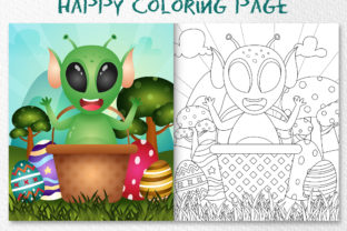 A Cute Alien - Coloring Page Graphic Coloring Pages & Books Kids By wijayariko