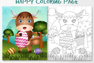 A Cute Buffalo Easter - Coloring Page Graphic Coloring Pages & Books Kids By wijayariko