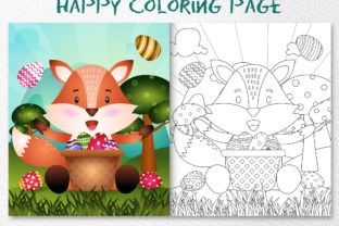 A Cute Fox Easter - Coloring Page Graphic Coloring Pages & Books Kids By wijayariko