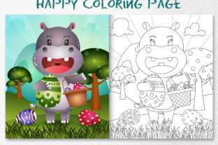A Cute Hippo Easter - Coloring Page Graphic Coloring Pages & Books Kids By wijayariko