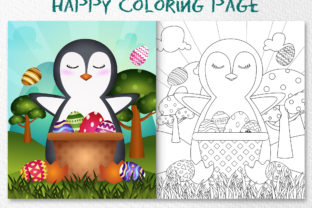 A Cute Penguin Easter - Coloring Page Graphic Coloring Pages & Books Kids By wijayariko