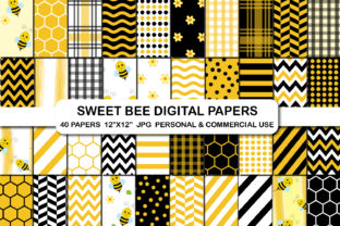 Bee Pattern Backgroud Digital Paper Pack Graphic Backgrounds By bestgraphicsonline