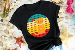 Print on Demand: Cat Retro Tshirt Vector SVG+EPS+PNG Graphic Print Templates By Ifter Nishat