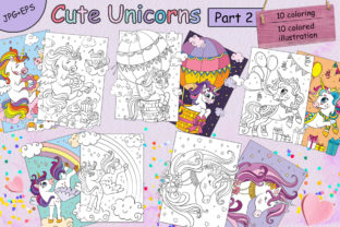 Coloring for Children Cute Unicorns-2 Graphic Coloring Pages & Books Kids By Alinart