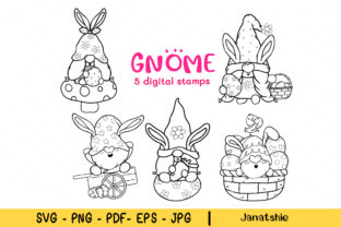 Cute Spring Easter Bunny Gnome Outline. Graphic Crafts By Janatshie