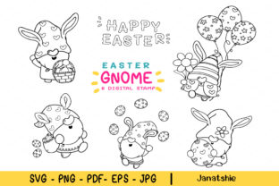 Easter Gnomes Digital Stamps Bunny Gnome Graphic Crafts By Janatshie