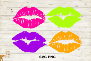 Four Neon Lips Graphic Illustrations By JamSafariArt