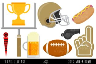 GOLD AMERICAN FOOTBALL, SPORTS Graphic Illustrations By TereVela Design
