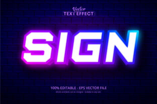Print on Demand: Sign Text, Neon Style Text Effect Graphic Layer Styles By Mustafa Bekşen