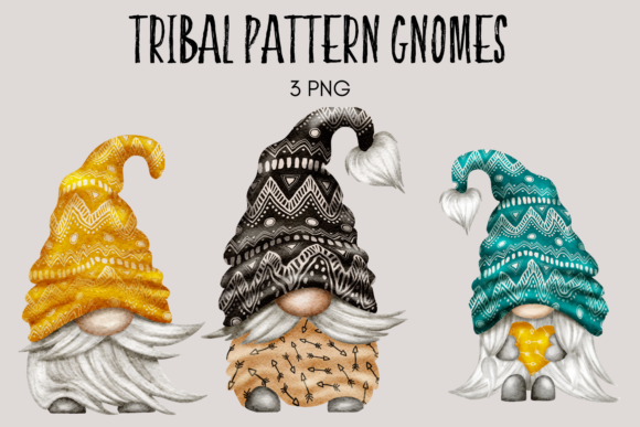 Print on Demand: Tribal Pattern Gnomes Graphic Illustrations By Celebrately Graphics