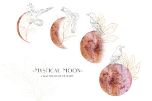 Print on Demand: Watercolor Moon Phase Clipart. Line Art Graphic Illustrations By Tiana Geo