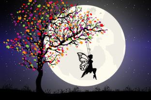 Print on Demand: Cute Fairy and Moon Silhouette Graphic Illustrations By curutdesign