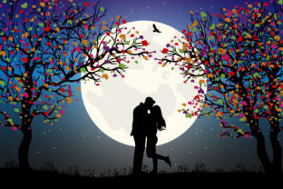 Print on Demand: Silhouette of Couple in Love Graphic Illustrations By curutdesign