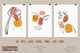 Print on Demand: 3 Design Wall Art /Continuous Line,Woman Graphic Illustrations By Momixzaa