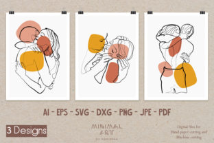 Print on Demand: 3 Design Wall Art /Continuous Kiss Love Graphic Illustrations By Momixzaa