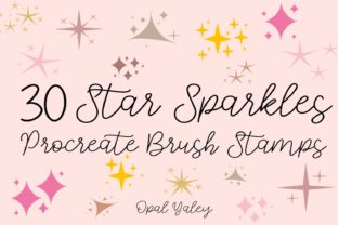 Print on Demand: 30 Star Sparkles Procreate Brushes Graphic Brushes By opal.yagley