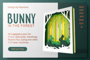 Bunny in the Forest 3D Layered SVG Cut Graphic Crafts By pixaroma