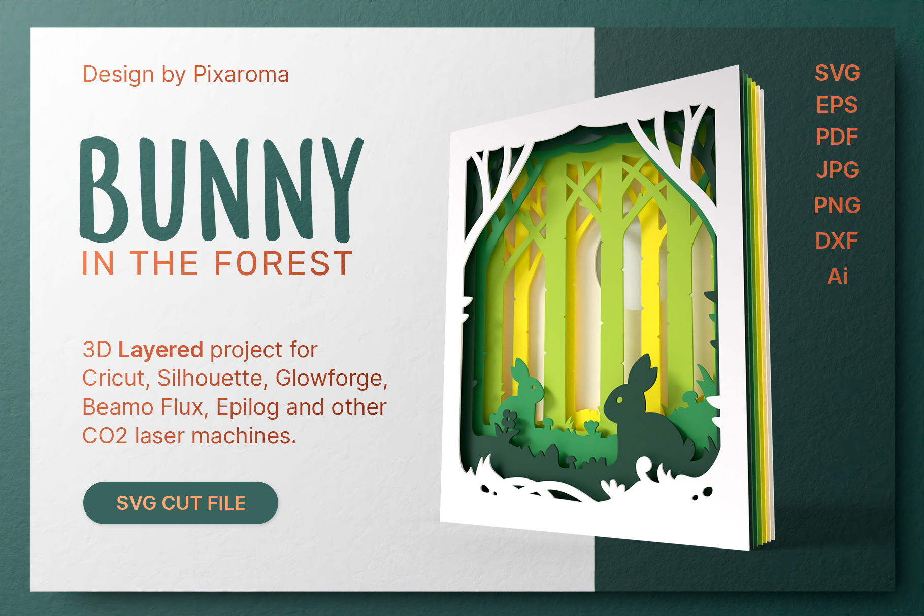 Bunny in the Forest 3D Layered SVG... SVG File