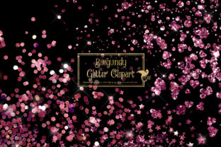 Print on Demand: Burgundy Glitter Clipart Graphic Illustrations By Digital Curio