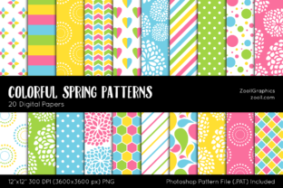 Colorful Spring Digital Papers Graphic Patterns By ZoollGraphics