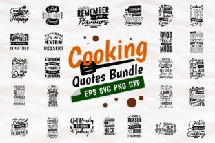 Print on Demand: Cooking Quotes SVG Bundle Lettering Graphic Print Templates By Universtock