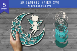 Crescent Moon and Fairy SVG 3d Layered Graphic Crafts By AllmoStudio