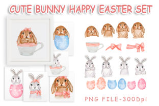 Print on Demand: Cute Bunny Easter Watercolor Set Graphic Illustrations By OrchidArt