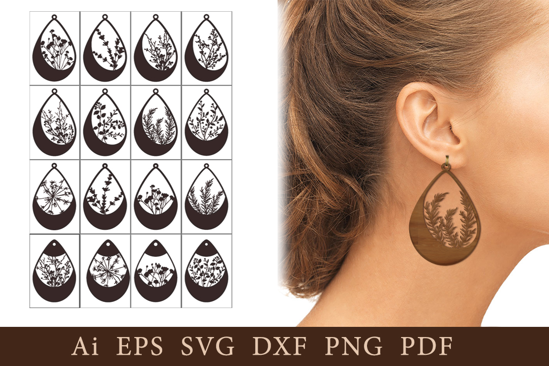 Earrings with Natural Elements. SVG SVG File