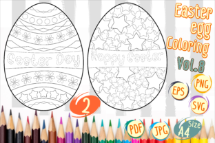 Print on Demand: Easter Egg Coloring Vol 8 Graphic 3rd grade By Kiang Stock Digiart