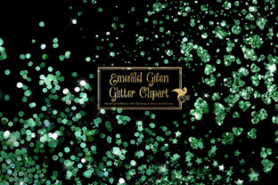 Print on Demand: Emerald Green Glitter Clipart Graphic Illustrations By Digital Curio