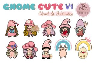 GNOME CUTE V1 Clipart, Sublimation, PNG Graphic Illustrations By tanvara544