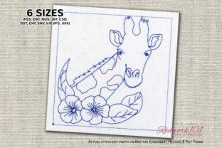 Giraffe with Flowers Lineart Marine Mammals Embroidery Design By Redwork101