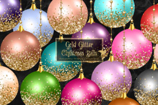 Print on Demand: Gold Glitter Christmas Ornaments Clipart Graphic Illustrations By Digital Curio
