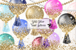 Print on Demand: Gold Glitter Tassel Balloons Clipart Graphic Illustrations By Digital Curio