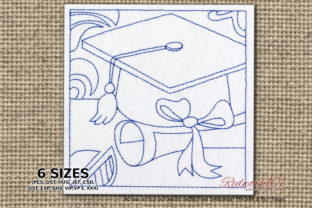 Graduation Cap and Diploma Redwork School & Education Embroidery Design By Redwork101
