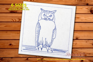 Great Horned Owl on a Tree Redwork Birds Embroidery Design By Redwork101