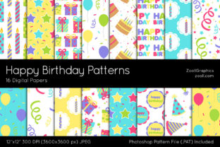 Happy Birthday Digital Papers Graphic Patterns By ZoollGraphics