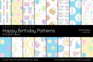 Happy Birthday Pastel Digital Papers Graphic Patterns By ZoollGraphics
