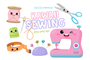 Print on Demand: Kawaii Sewing Clipart Set Graphic Illustrations By DigitalPapers