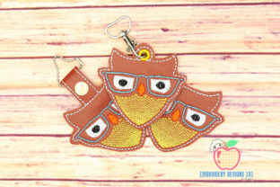 Owl with Sun Glasses ITH Snaptab Keyfob Birds Embroidery Design By embroiderydesigns101