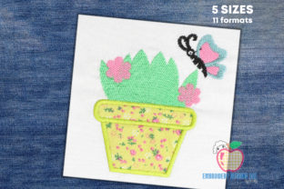 Plant Pot with Butterfly Bugs & Insects Embroidery Design By embroiderydesigns101