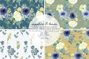 Sapphire & Lemon Seamless Pattern Set Graphic Patterns By Patishop Art