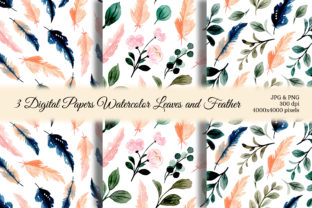 Print on Demand: Seamless Pattern Leaves Watercolor 21 Graphic Patterns By asrulaqroni